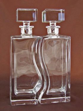 Bohemia Crystal Duet Decanters, Set of 2