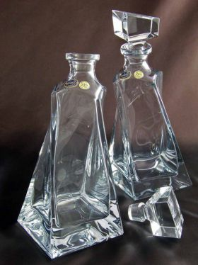 Bohemia Crystal Lovers Decanters, Set of 2