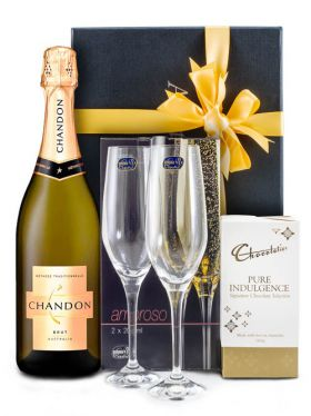 Crystal Champagne Flutes & Chandon Gift Set