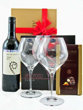 Crystal Wine Glasses & Red Wine Gift Set