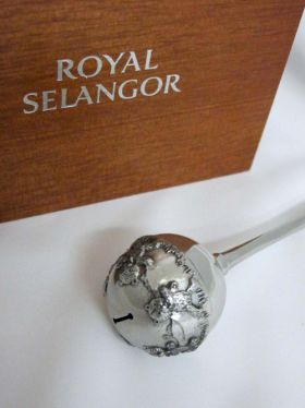 Royal Selangor Teddy Bears Picnic - Pewter Baby Rattle in Gift Box