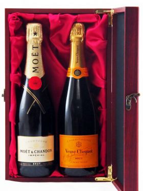 French Champagne Duet in Premium Satin Lined Wine Box