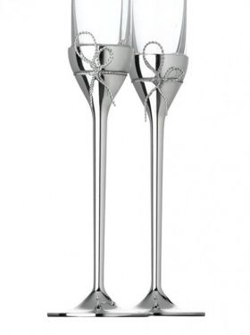 Wedgwood Vera Wang Love Knots Silver Toasting Champagne Flute Pair