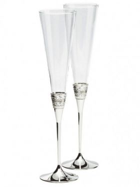 Wedgwood Vera Wang With Love Silver Toasting Champagne Flute Pair