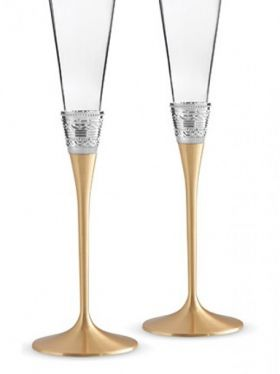Wedgwood Vera Wang With Love Gold Champagne Flute Pair
