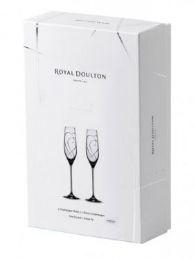 Royal Doulton Promises Champagne Flutes - Two Hearts Pair