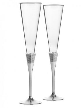Waterford Crystal Lismore Diamond Silver Toasting Champagne Flute Pair