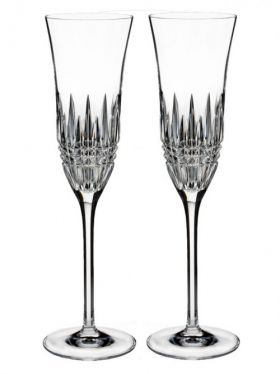 Waterford Crystal Lismore Diamond Essence Champagne Flute Pair