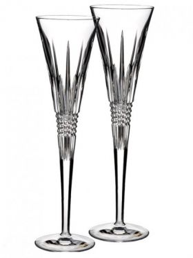 Waterford Crystal Lismore Diamond Toasting Champagne Flute Pair