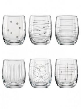 Bohemia Crystal Elements Tumbler Mixed, 300ml x 6