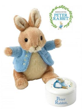 Peter Rabbit Trinket Box and Soft Toy Gift Set