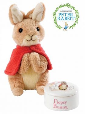Flopsy Bunny Trinket Box and Soft Toy Gift Set