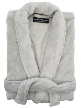 Plush Ultra Soft Robe - Silver, Small