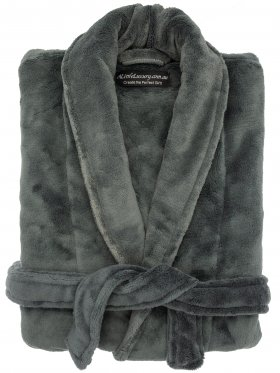 Plush Ultra Soft Robe - Charcoal, Medium